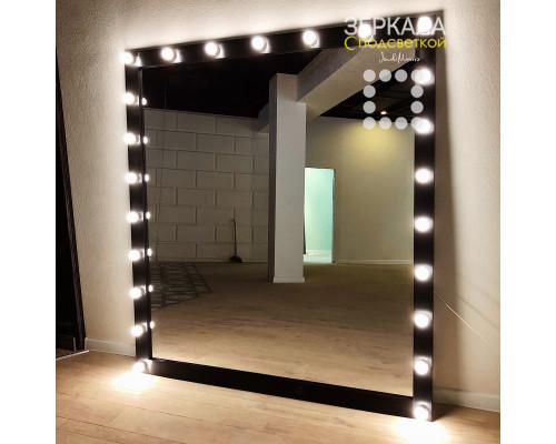 Гримерное зеркало с подсветкой из массива дерева 200х180 Черный