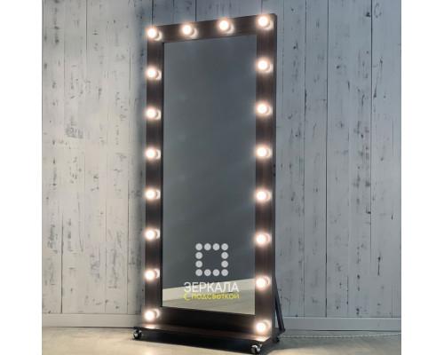 Гримерное зеркало с подсветкой 180х80 на подставке с колесиками венге премимум