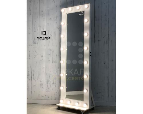 Гримерное зеркало с подсветкой 180х60 см на подставке с колесами премиум